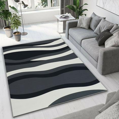 Alfombra de sala de estar de diseño moderno - Patrón de onda - Negro + Gris + Blanco