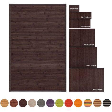 Alfombra de salón de bambú marrón industrial de 200x140 cm