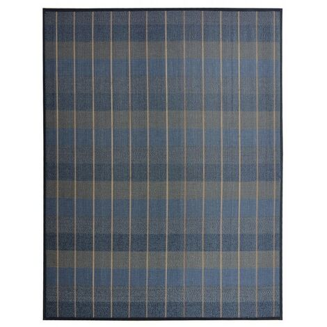 Alfombra de Salón o Comedor, de Cuadros, en Tonos Azules, Grises y Beige, de Bambú Natural 180 X 300cm Natur, 180x300 180 x 300 cm Azul