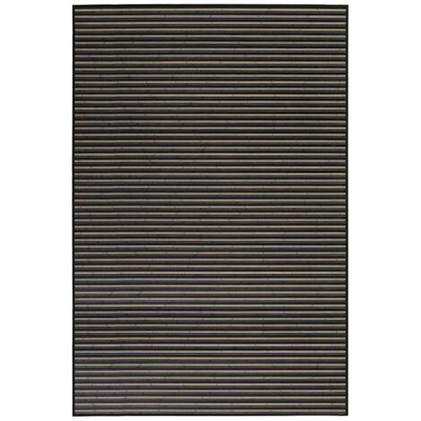 Alfombra de Salón o Comedor, de Rayas color Neutro, de Bambú Natural 200 X 300cm Natur, 200x300 - Hogar y Más 200 x 300 cm Negro