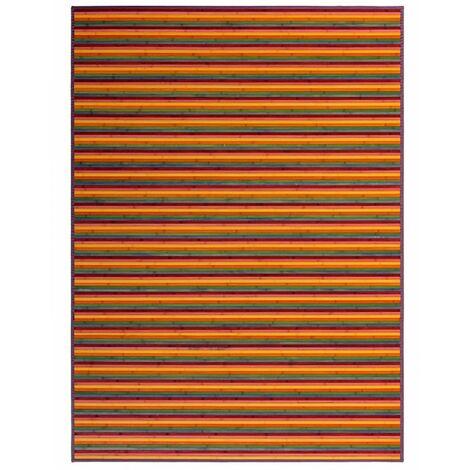 Alfombra de Salón o Comedor, de Rayas Multicolor, de Bambú Natural 180 X 250cm Natur, 180x250 - Hogar y Más