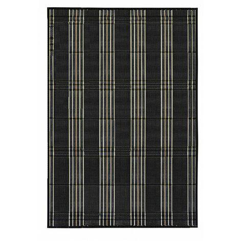 Alfombra de Salón o Comedor, Negro, con Rayas Beige y Negras, de Bambú Natural 180 X 250cm, Natur, 180x250 - Hogar y Más 180 x 250 cm Gris