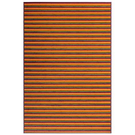 Alfombra de Salón o Comedor, Rayas Multicolor, de Bambú Natural 200 X 300cm Natur, 200x300 - Hogar y Más 200 x 300 cm Multicolor