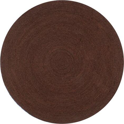 Alfombra de yute tejida a mano 120 cm marrón