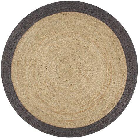 Alfombra de yute tejida a mano con borde gris oscuro 90 cm