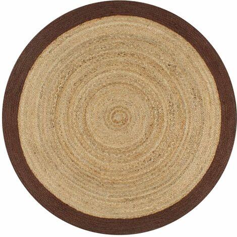 Alfombra de yute tejida a mano con borde marrón 90 cm