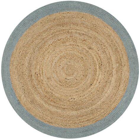 Alfombra de yute tejida a mano con borde verde oliva 150 cm