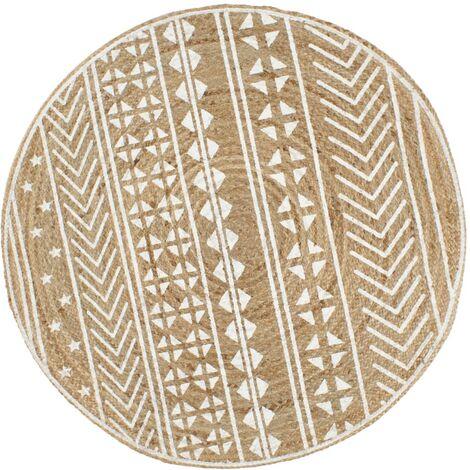 Alfombra de yute tejida a mano con estampado blanco 150 cm