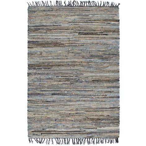 Alfombra hecha a mano Chindi vaquero yute multicolor 160x230 cm