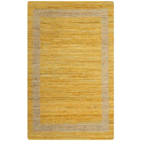 Alfombra hecha a mano de yute amarillo 120x180 cm