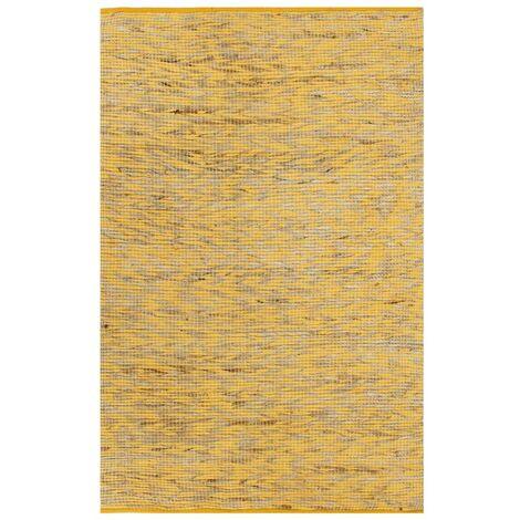 Alfombra hecha a mano de yute amarillo y natural 120x180 cm