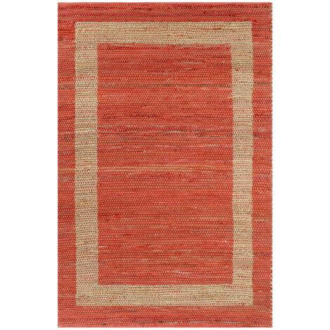 Alfombra hecha a mano de yute roja 120x180 cm
