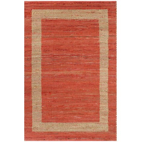 Alfombra hecha a mano de yute roja 80x160 cm