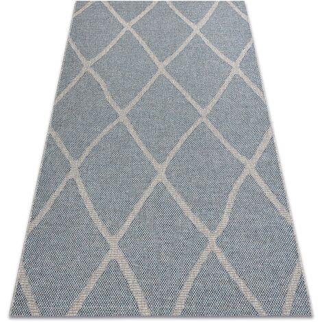 Alfombra HOUSE sisal 40345 enjerado, Tejido plano, efecto lanoso gris / azul Tonos de azul 80x150 cm