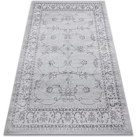 Alfombra MEFE moderna 2312 Ornamento, marco - Structural dos niveles de vellón gris Tonos de gris y plata 160x220 cm