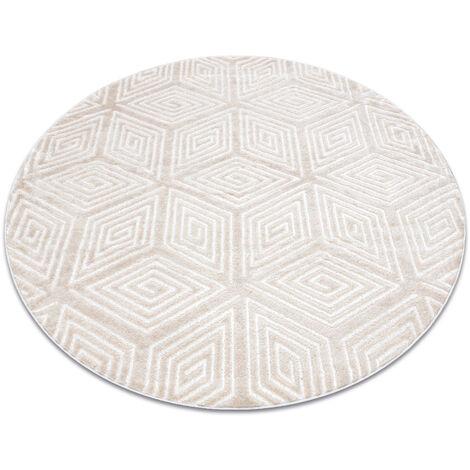 Alfombra MEFE moderna circulo B403 Cubo, geométrico 3D - Structural dos niveles de vellón crema / beige Tonos de beige circulo 160 cm