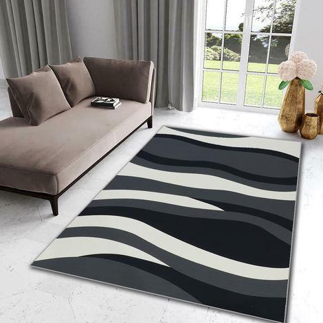 Alfombra moderna de diseño de sala de estar - Patrón de onda - Negro + Gris + Blanco sala de estar dormitorio 80 * 150cm Hasaki
