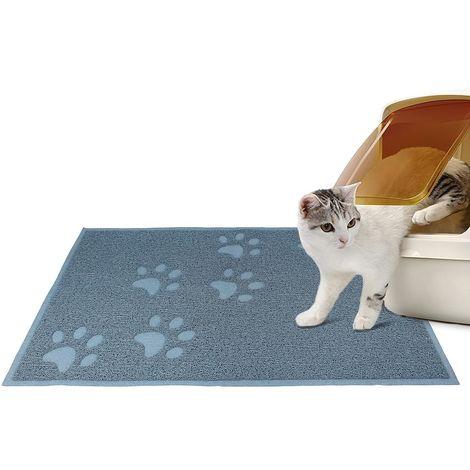 Alfombra Para Arena de Gatos, Tapete Impermeable para Animales, 90 x 60 cm, Azul, Tamaño plegado: 31,5 x 13 x 13 cm