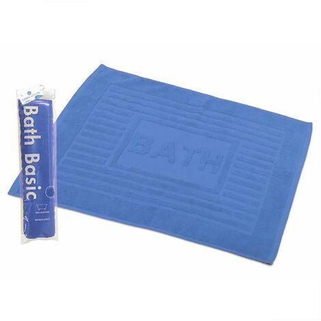 Alfombra para Baño Rectangular, de Algodón y Rizo Americano, Color Azul. Diseño Bath - Hogar y Más
