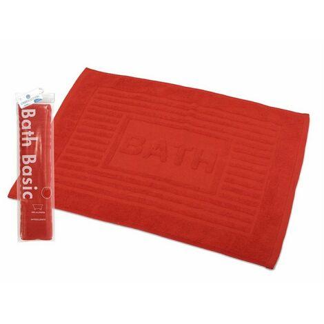 Alfombra para Baño Rectangular, de Algodón y Rizo Americano, Color Rojo. Diseño Bath - Hogar y Más