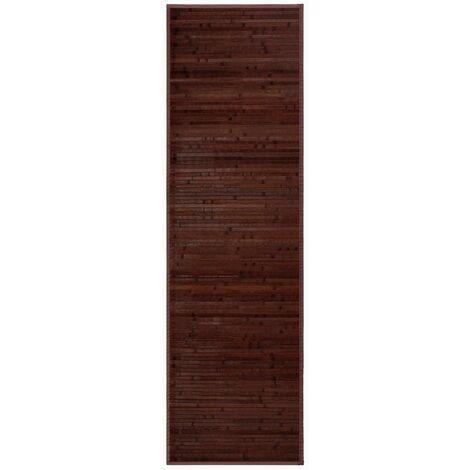 Alfombra pasillera de bambú marrón industrial de 200x60 cm