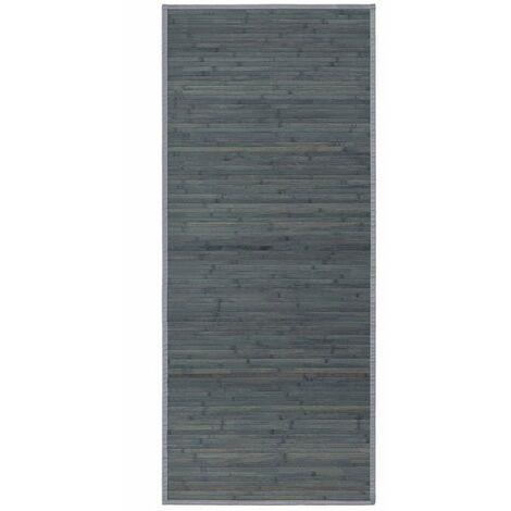 Alfombra pasillera de Bambu natural para entrada o pasillo de color Gris Opalino. Diseño Moderno. 75 x 175 cm - Hogar y más