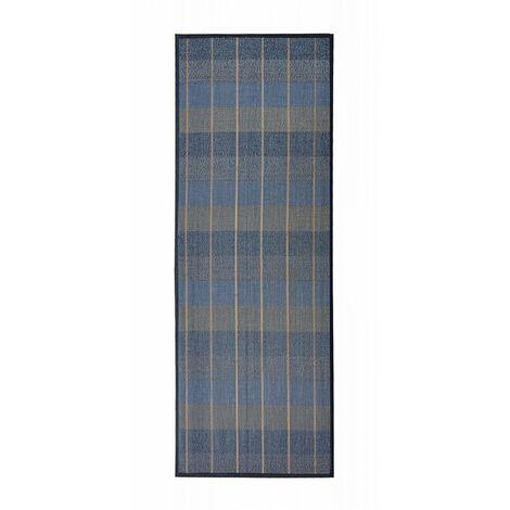 Alfombra Pasillera, de Cuadros en Tonalidades Azules, Grises y Beige, de Bambú Natural 180 X 75cm, Natur 180x75 - Hogar y Más 75 x 175 cm Gris