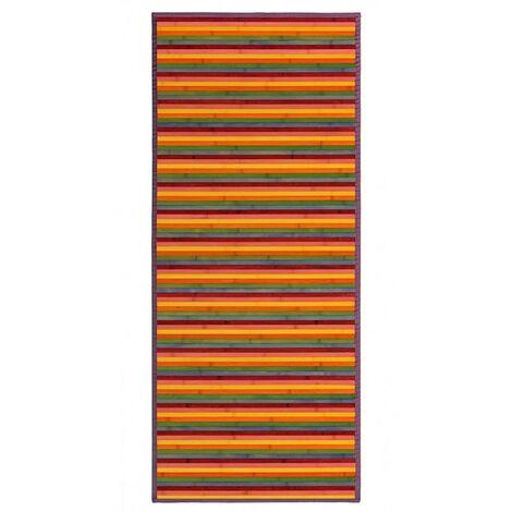 Alfombra Pasillera, Rayas Multicolor, de Bambú Natural 75 X 175cm, Natur 75x175 - Hogar y Más 75 x 175 cm Multicolor