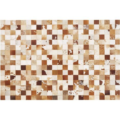 Alfombra patchwork marrón/blanco 140 x 200cm CAMILI