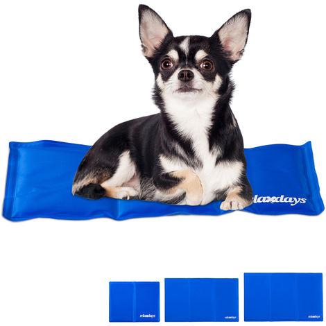 Alfombra Perro Refrescante, Cama Refrigeración, Manta Fría, Gato, Poliéster-Gel, 1 Ud., 20 x 35 cm, Azul