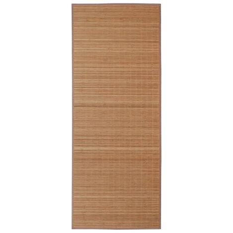 Alfombra rectangular de bambú marrón 120x180 cm
