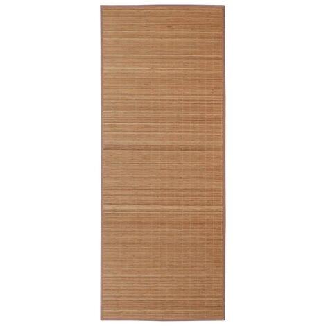 Alfombra rectangular de bambú marrón 150x200 cm
