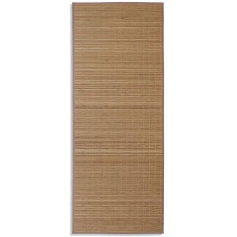 Alfombra rectangular de bambú marrón 80x200 cm
