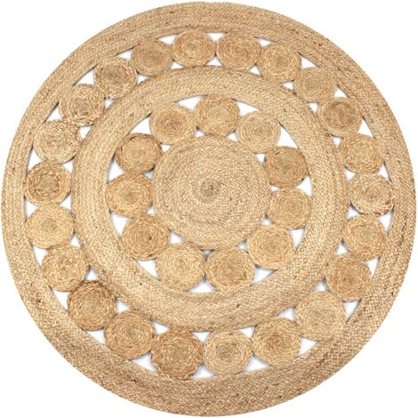 Alfombra redonda 120 cm yute trenzado con diseño