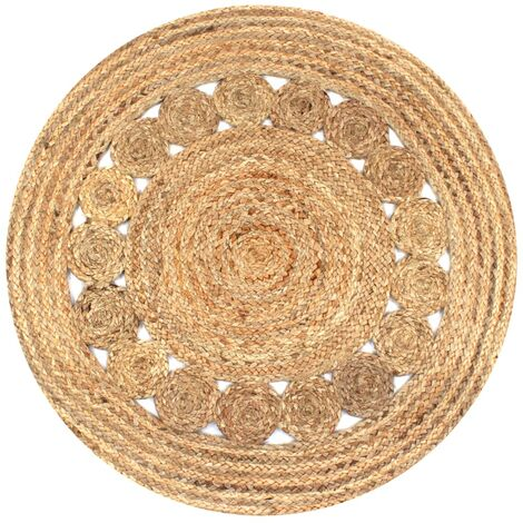 Alfombra redonda 90 cm yute trenzado con diseño