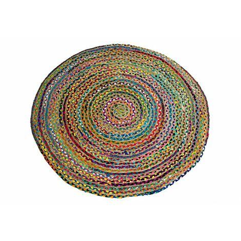 Alfombra Redonda Algodón y Yute. Colores, Hogar y Mas