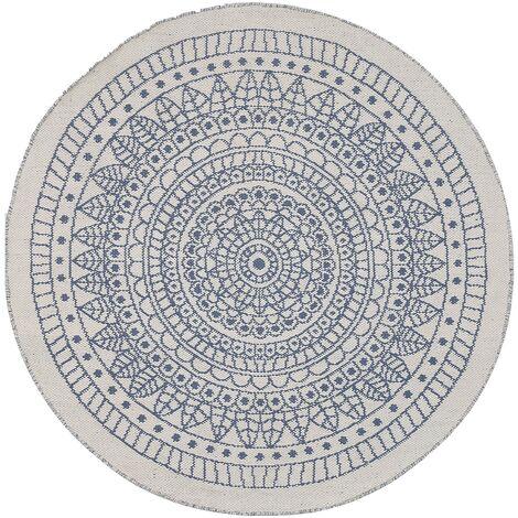 Alfombra redonda reversible azul/blanco 140 cm YALAK