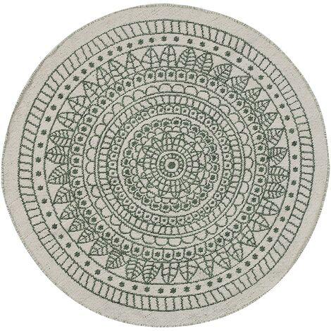 Alfombra redonda reversible verde/blanco 140 cm YALAK