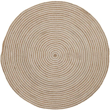 Alfombra Saht Ø 150 cm natural y blanco
