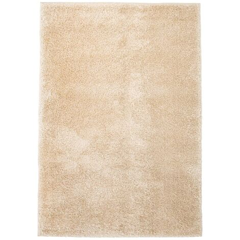 Alfombra shaggy de pelo 140x200 cm beige