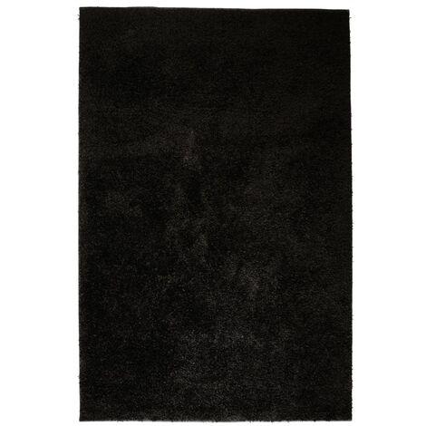 Alfombra shaggy de pelo 80x150 cm negra