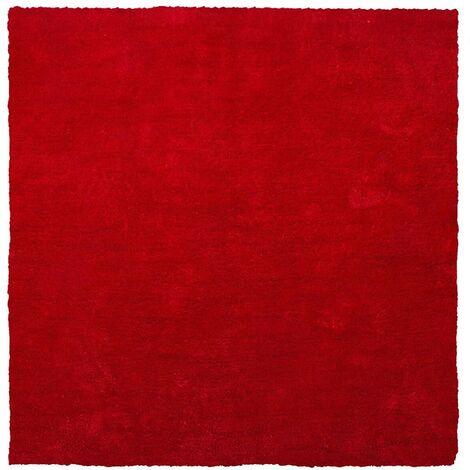 Alfombra shaggy en color rojo 200x200 cm DEMRE