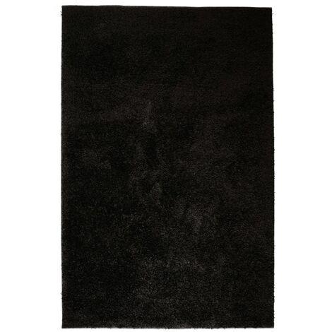 Alfombra shaggy peluda 140x200 cm negra
