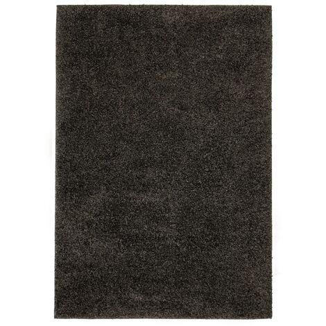 Alfombra shaggy peluda 160x230 cm gris antracita