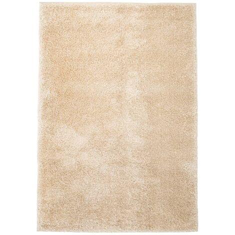 Alfombra shaggy peluda 80x150 cm beige