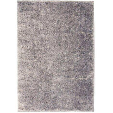 Alfombra shaggy peluda 80x150 cm gris