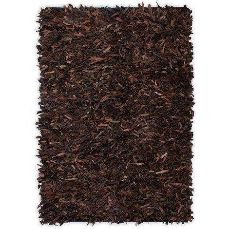 Alfombra shaggy peluda de cuero auténtico 160x230 cm marrón