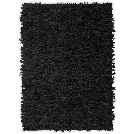 Alfombra shaggy peluda de cuero auténtico 190x280 cm negra