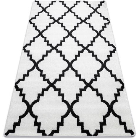 Alfombra SKETCH - F343 blanco/Enrejado Trébol marroquí negro Blanco 180x270 cm