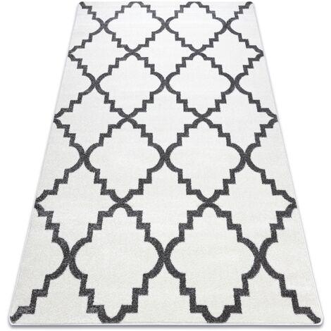 Alfombra SKETCH - F343 Enrejado Trébol marroquí blanco/gris Blanco 120x170 cm